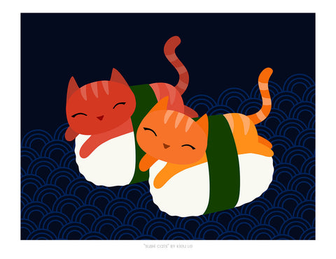 "Giclee Print - 8.5x11"" Sushi Cats"