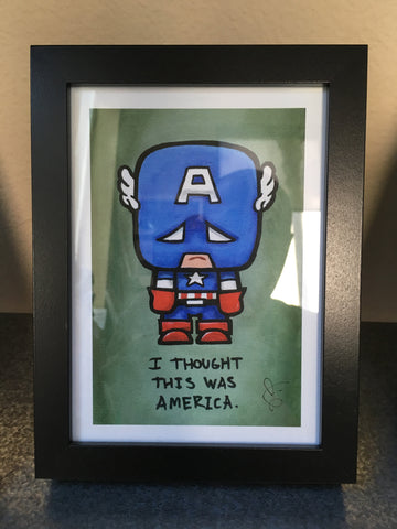 "SuperEmoFriends - Framed 5x7"" Captain Amewica"