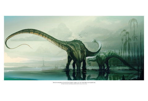 "Giclee Print - 13x19"" Brontosaurus Momma Daddy Baby 06"