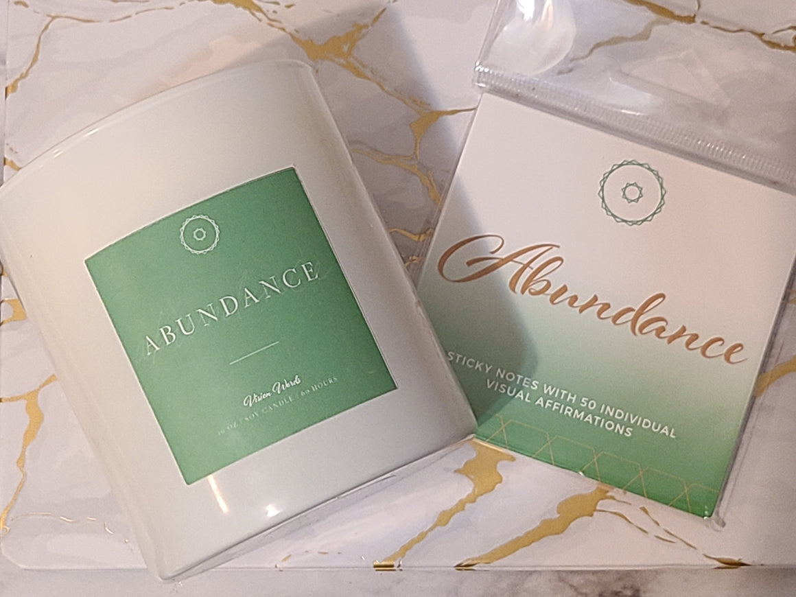 ABUNDANCE   10 oz Luxury Soy Candle with Vision Words