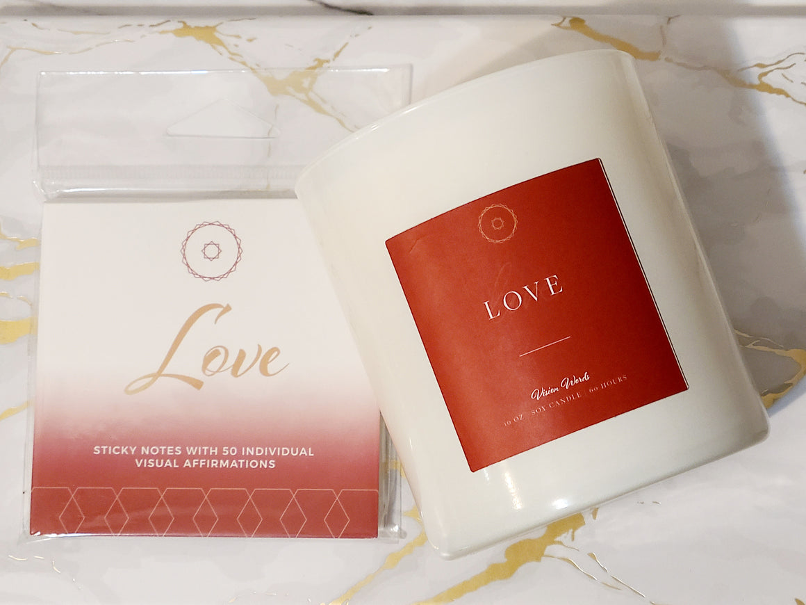 LOVE 10 oz Luxury Soy Candle with Vision Words