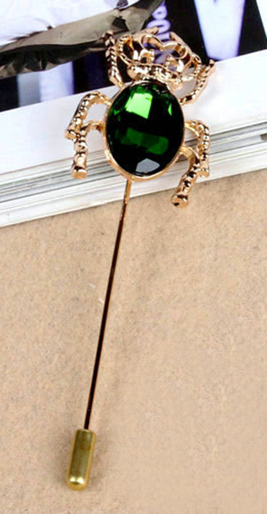 Golden Beetle Insect / Green Emerald Lapel Pin