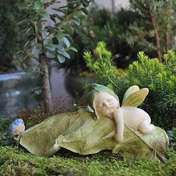 Baby Leaf Fairy with a Blue Bird | Teelie's Fairy Garden Store