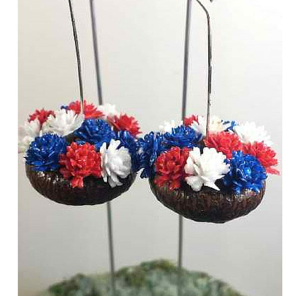 Acorn Planters with Blue, Red, White FlowersAcorn Planters with Blue, Red, White Flowers | Teelie's Fairy Garden Store