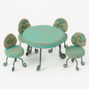 Aqua Clay Table and Chairs - Teelies Fairy Garden Store