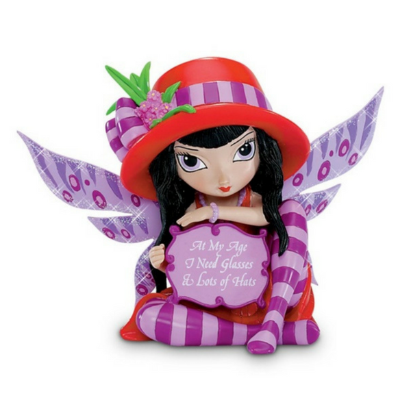 At My Age I Need Glasses & Lots of Hats Fairy - Teelies Fairy Garden Store