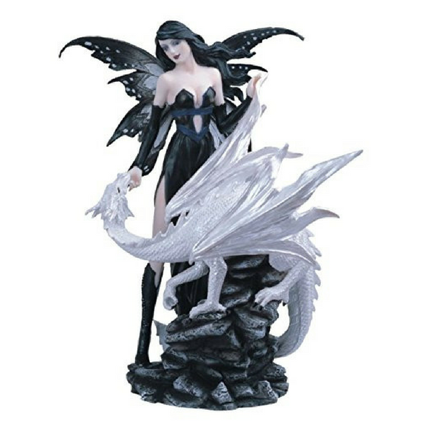 Black Fairy with White Dragon - Teelies Fairy Garden Store
