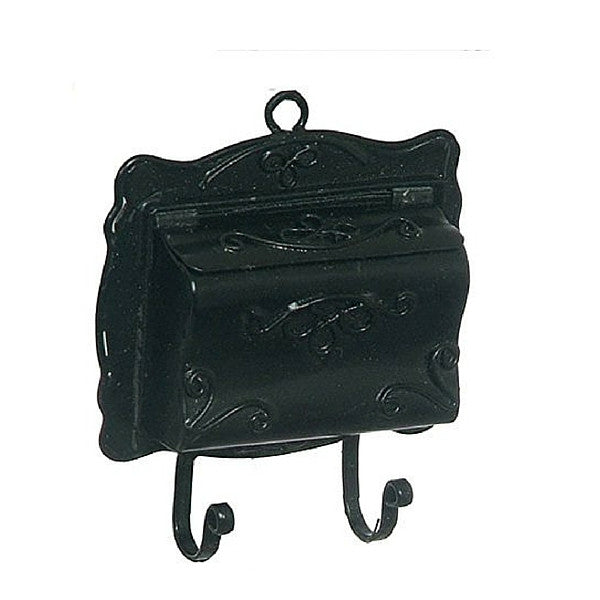 Black Traditional Wall Mailbox | Teelie's Fairy Garden Store