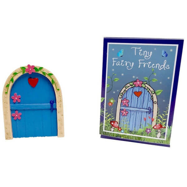 Blue Fairy Door with Flower and Heart | Teelie's Fairy Garden Store