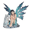 Blue Fairy Sitting with White Tiger - Teelies Fairy Garden Store