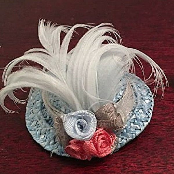 Blue Feathered Ladies Hat | Teelie's Fairy Garden Store