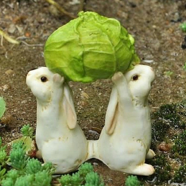 Bunnies Carrying a Cabbage | Teelie's Fairy Garden Store