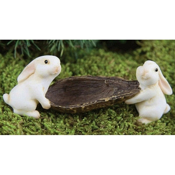 Bunnies Carrying A Pod | Teelie's Fairy Garden Store