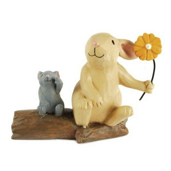 Bunny and Mouse on Log | Teelie's Fairy Garden Store