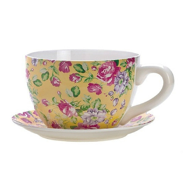 China Rose Teacup Planter | Teelie's Fairy Garden Store