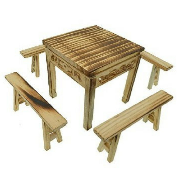 Chinese Wooden Garden Table and Bench Set - Teelies Fairy Garden Store