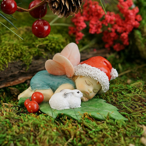 Christmas Fairy Baby Sleeping with Bunny | Teelie's Fairy Garden Store