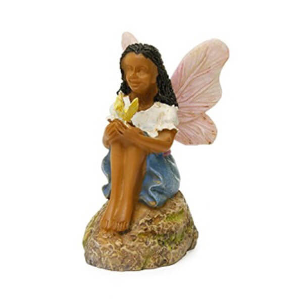 Ebony Fairy Sitting with Butterfly Helping Hands - Teelies Fairy Garden Store