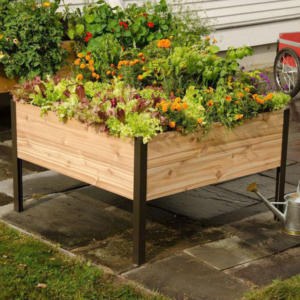 Elevated Cedar Planter Box | Teelie's Fairy Garden Store