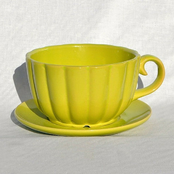 Lime Ceramic Teacup Planter | Teelie's Fairy Garden Store