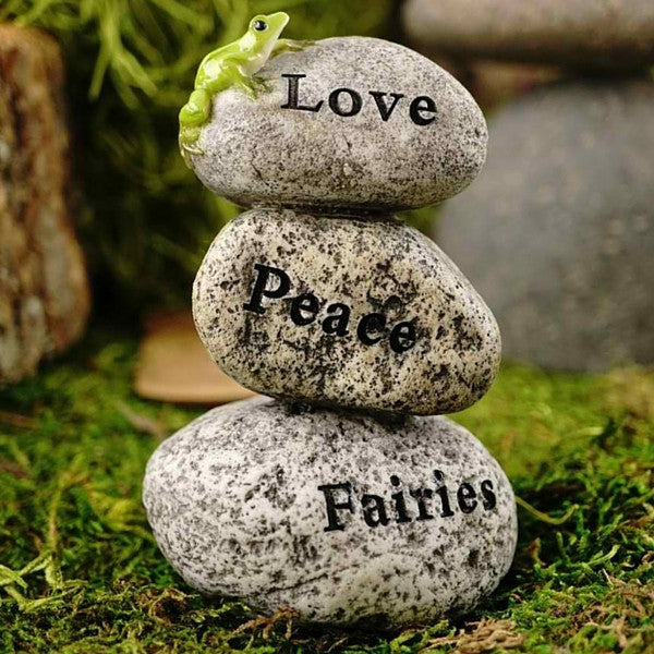 """Love Peace Fairies"" Mini Rock Cairn with Frog, valentines - Teelies Fairy Garden Store"