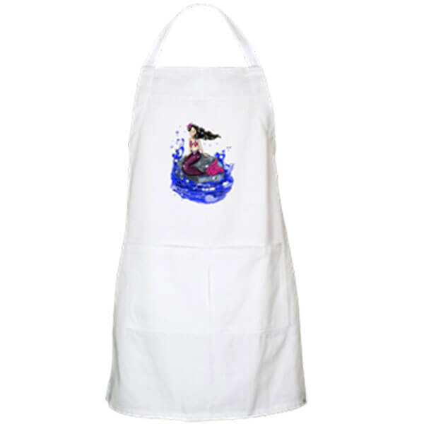 Mandy, the Mermaid Garden Fairy Apron in White