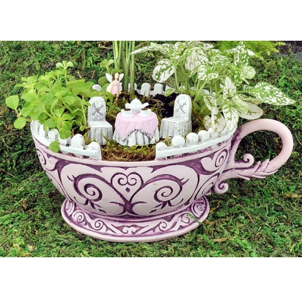 Pink Teacup Planter and Accessory Set | Teelie's Fairy Garden Store