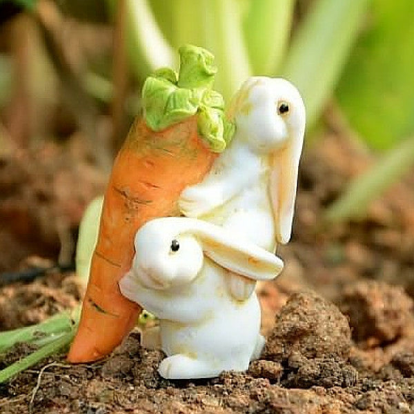 Rabbits Carrying a Carrot | Teelie's Fairy Garden Store