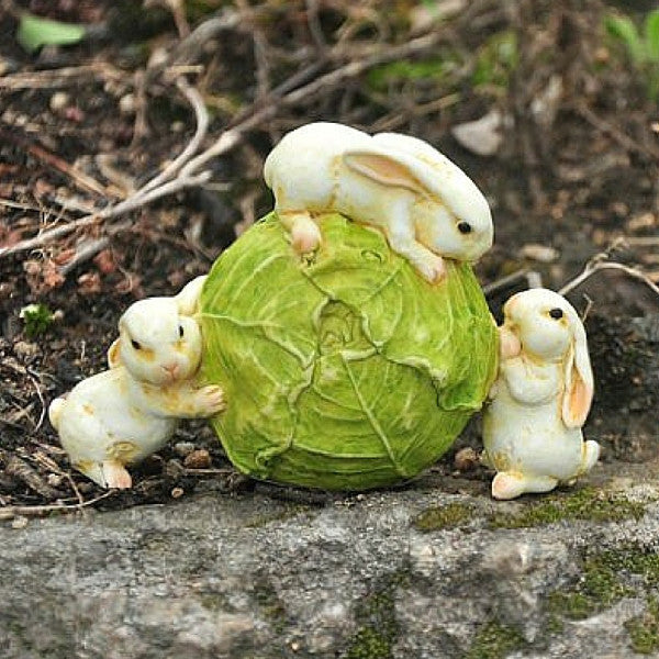 Rabbits Rolling a Cabbage | Teelie's Fairy Garden Store