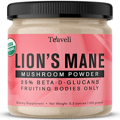 Organic Lions Mane Mushroom Powder Extract from Fruiting Bodies (150 grams)- No Mycelium, Fillers & Grains- Potent Lions Mane Extract- 25% Beta-Glucans- Promotes Immunity, Clarity & Nerve Health - Teaveli