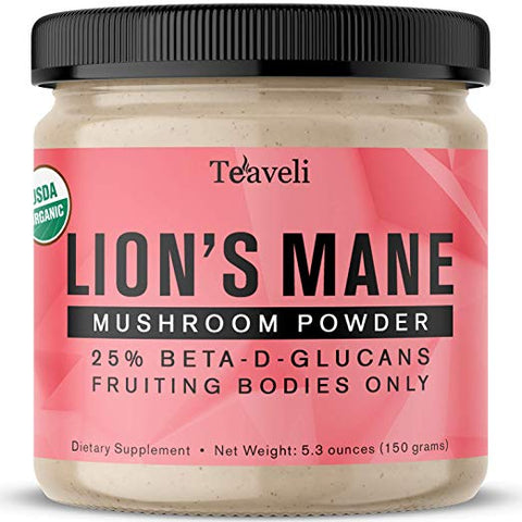Teaveli Organic Lions Mane Mushroom Powder Extract from Fruiting Bodies- The Mushroom Superfood to Support Mental Clarity, Focus and Lower Stress - Teaveli