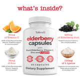 Black Elderberry Capsules with Zinc, Vitamin C and L-Lysine - 60 Servings