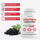 Premium Black Elderberry Capsules with Zinc, Vitamin C, L-Lysine - 60 servings