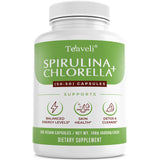 Organic Spirulina Chlorella Capsules- Green Superfood & Chlorophyll Supplement