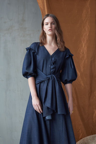 Denim Puff Sleeve Shirt Dress