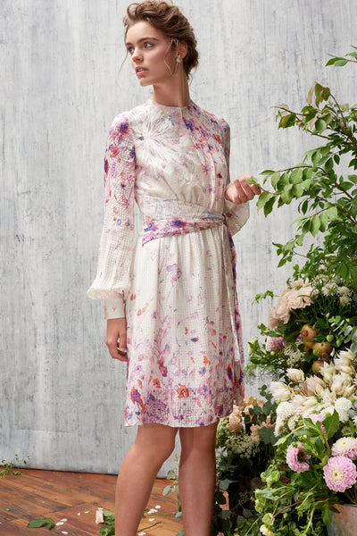 FLORAL ASYMMETRIC FLOUNCE DRESS