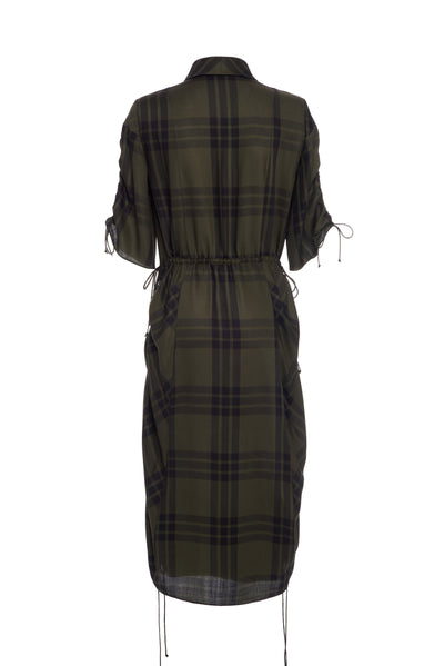 ROUCHED SHIRT DRESS