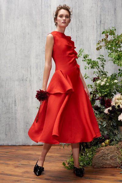 ASYMMETRICAL FLOUNCE BELL DRESS