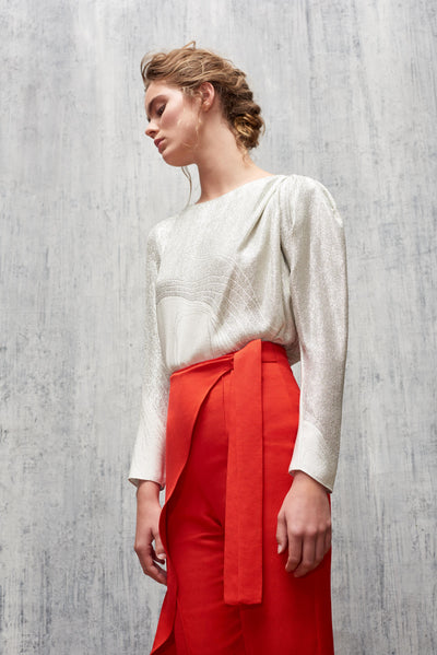 DRAPED PUFF SLEEVE TOP