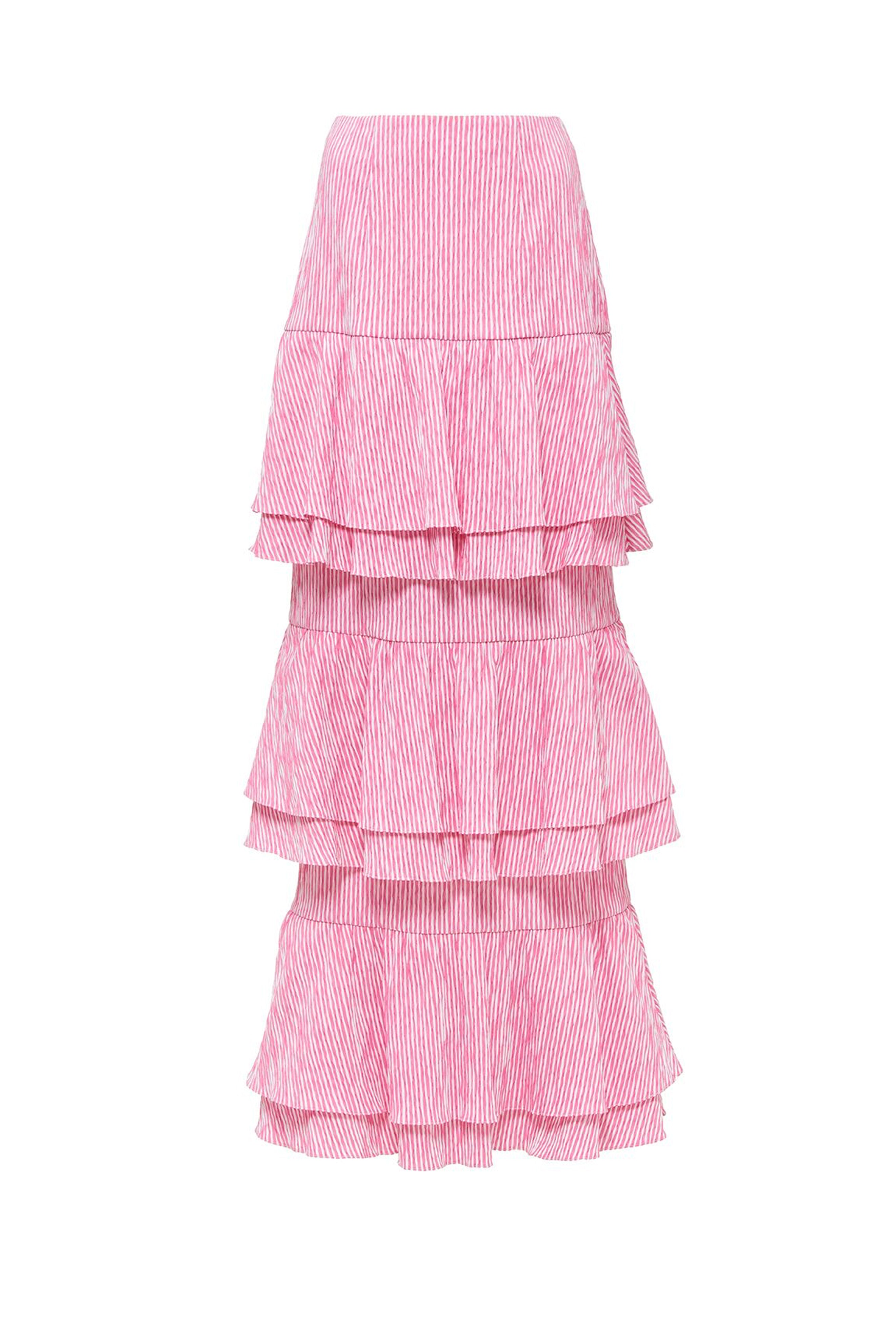 TIERED LONG RUFFLE SKIRT
