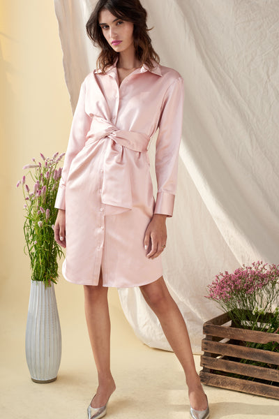 ASYMMETRICAL WRAP SHIRT DRESS