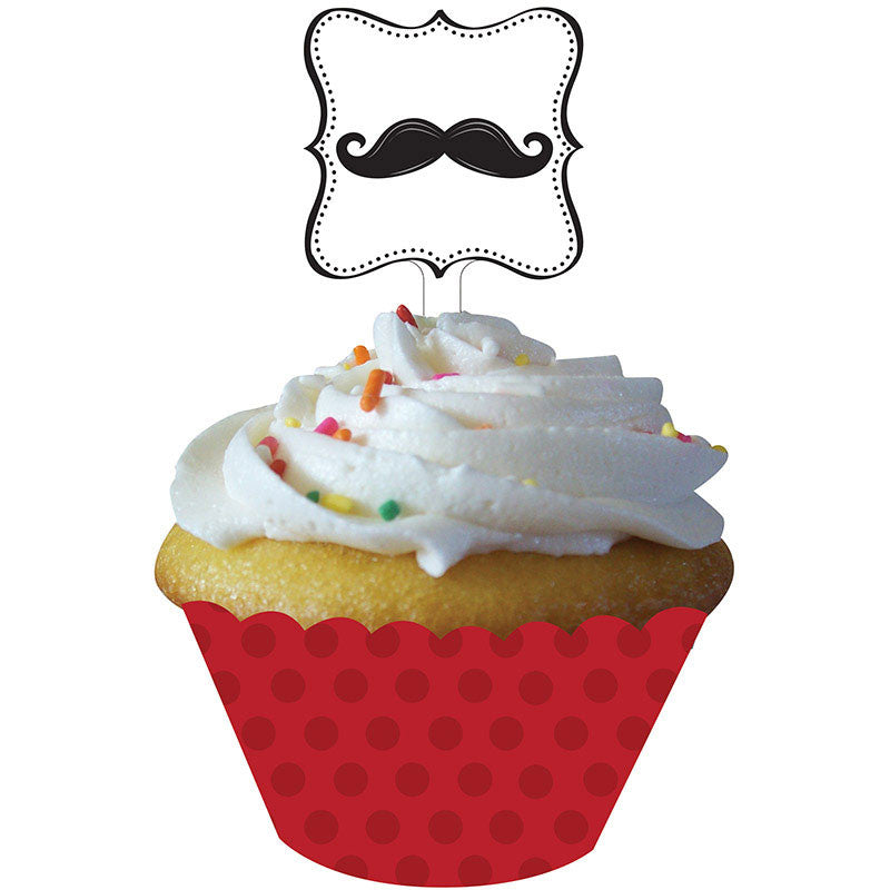 Mustache Madness Cupcake Wraps and Picks