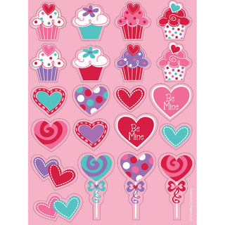 Heart Cupcake Stickers, Value