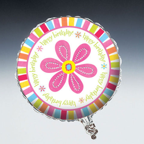 Pink Flower Cheer Metallic Balloon