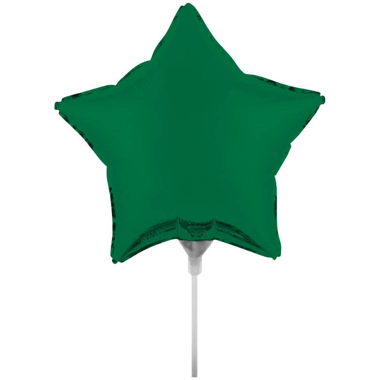"Emerald Green 9"" Air Filled Foil Star Balloon with Stick"