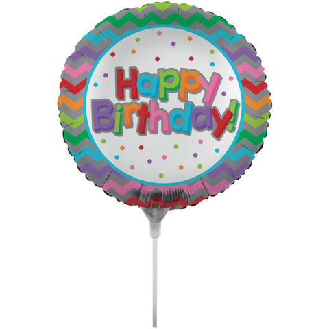 "Birthday Chevron 18"" Air Filled Foil Balloon with Stick"