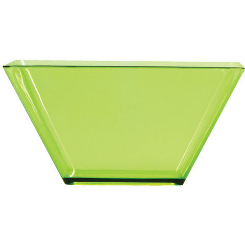 "Translucent Green 3.5"" Plastic Square Bowl"