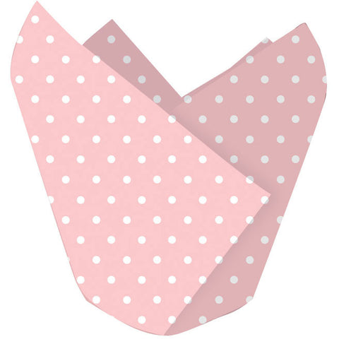 Classic Pink and White Polka Dots Cupcake Wraps (12ct)