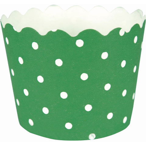 Green and White Polka Dots Baking Cups (12ct)