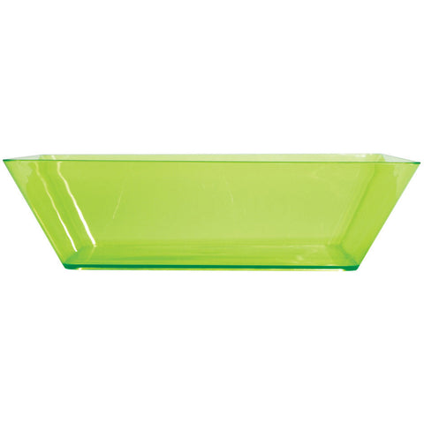 "Translucent Green 11"" Plastic Square Serving Bowl"